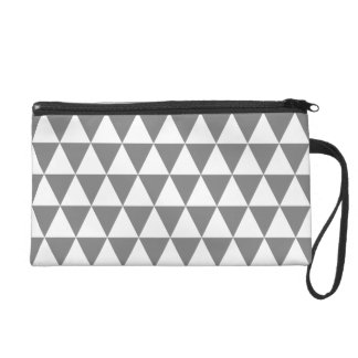 White and Medium Gray Geometric Triangles Wristlet Purse