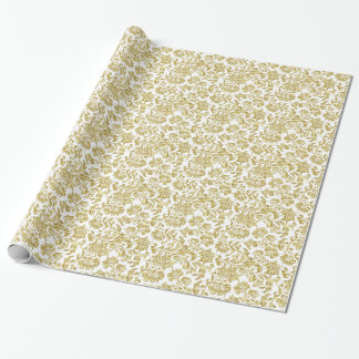 White And Metallic Gold Floral Damasks 4 Pattern Wrapping Paper