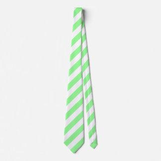 White and Mint Green Diagonal Stripes Tie