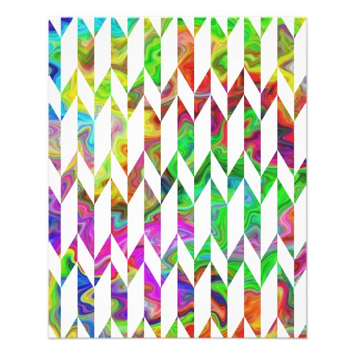 White and Multicolor Abstract Graphic Pattern. Custom Flyer