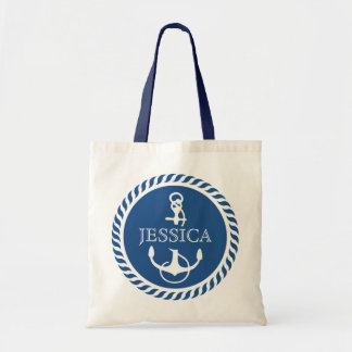 White And Navy Blue Nautical Boat Anchor Budget Tote Bag