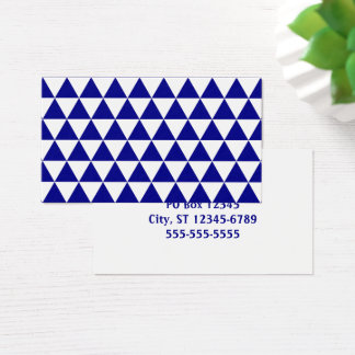White and Navy Triangle Pattern Business Card