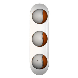 White and Orange Baseball Skateboard Deck
