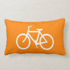 White and Orange Bike Lumbar Cushion