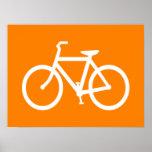 White and Orange Bike Poster