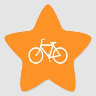 White and Orange Bike Star Stickers