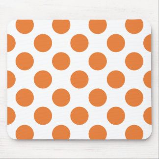 White and Orange Polka Dots Mouse Pad