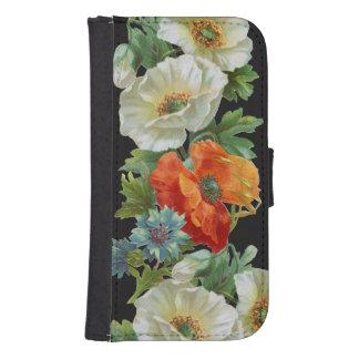 White and Orange Poppies Samsung Wallet Case