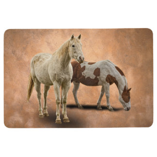 WHITE AND PAINT HORSE FLOOR MAT