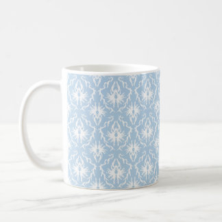 White and Pale Blue Damask Design. Basic White Mug
