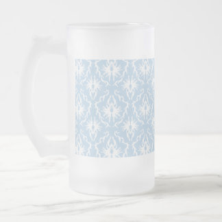 White and Pale Blue Damask Design. 16 Oz Frosted Glass Beer Mug
