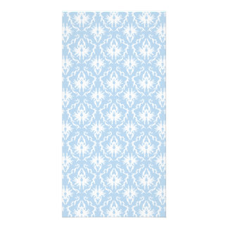 White and Pale Blue Damask Design. Photo Card