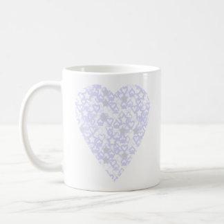 White and Pale Blue Heart. Patterned Heart Design. Basic White Mug