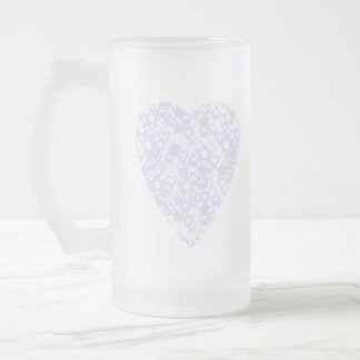 White and Pale Blue Heart. Patterned Heart Design. Frosted Glass Mug
