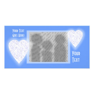 White and Pale Blue Heart. Patterned Heart Design. Photo Card