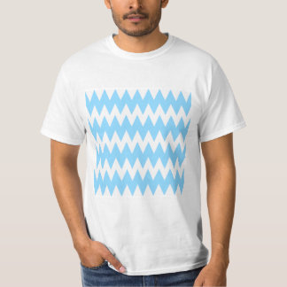 White and Pastel Blue Zigzags. Tee Shirts