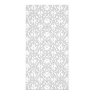 White and Pastel Gray Damask Design. Photo Cards
