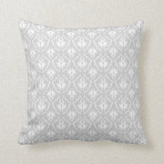 White and Pastel Gray Damask Design. Throw Pillow