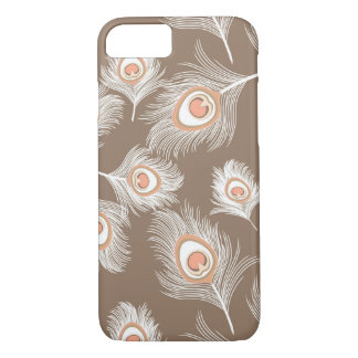 White and Peach Peacock Feathers on Taupe Tan iPhone 8/7 Case