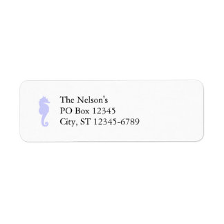 White and Periwinkle Sea Horse Return Address Label