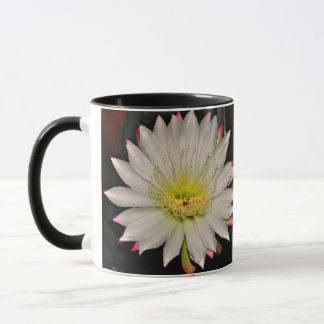 White and Pink Cactus Bloom on Yellow Coffee Mug