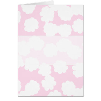 White and Pink Clouds Pattern. Greeting Card
