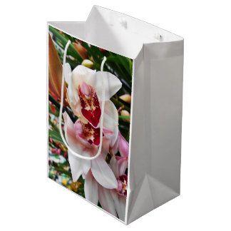 White And Pink Dendrobium Orchids Medium Gift Bag