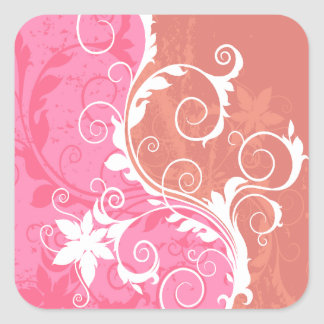 White and Pink Floral Grunge Sticker