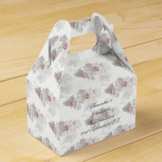 White and pink floral wedding bouquet favour boxes