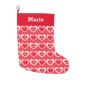 White and Pink Hearts Large Christmas Stocking