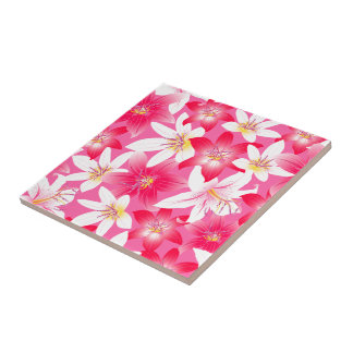 White and pink hibiscus floral ceramic tile