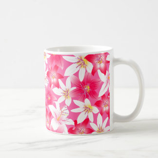 White and pink hibiscus floral coffee mug