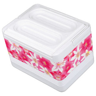 White and pink hibiscus floral cooler