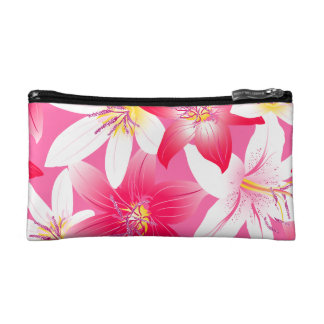White and pink hibiscus floral cosmetic bag