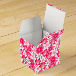 White and pink hibiscus floral favour box