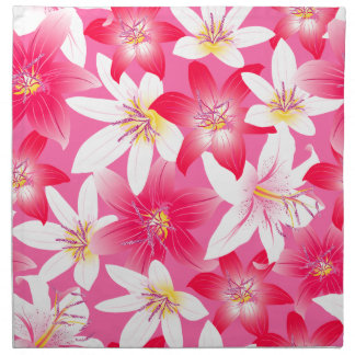 White and pink hibiscus floral napkin