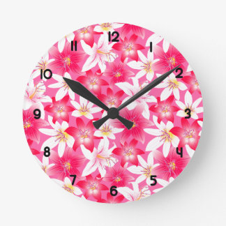 White and pink hibiscus floral round clock