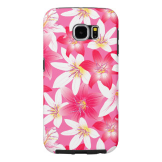 White and pink hibiscus floral samsung galaxy s6 cases