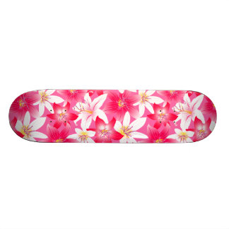 White and pink hibiscus floral skate board