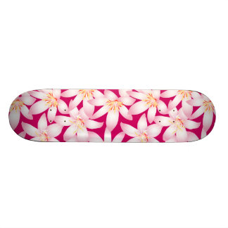 White and pink hibiscus floral skate board deck