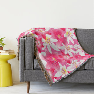White and pink hibiscus floral throw blanket