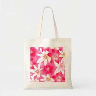 White and pink hibiscus floral tote bag