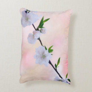 White and Pink Peach Blossom Decorative Cushion