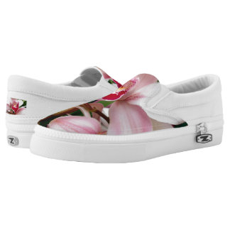 White and Pink Phalaenopsis Orchid Slip-On Shoes