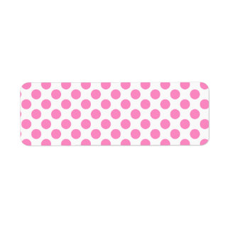 White and Pink Polka Dots Return Address Label