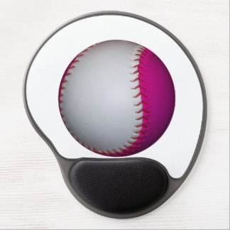 White and Pink Softball Gel Mouse Pad