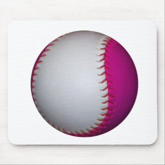 White and Pink Softball Mouse Pad