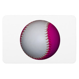 White and Pink Softball Rectangle Magnet