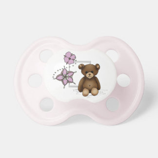 White and pink teat with teddy and flowers dummy