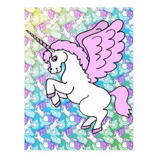White and Pink Unicorn Postcard